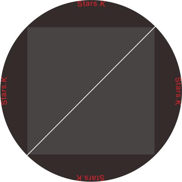 圓是時間在外、方是空間在內。白線是聯結、是作者意識作用。